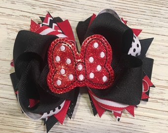 Red and Black Minnie Mouse hair bow, Minnie hair bow, Minnie hairbow, Disney hair bow, Disney hairbow, Minnie hair clip, Mouse hair bow