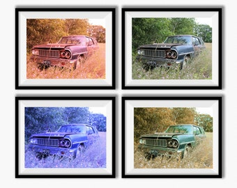 Wall Art Print Sets, Prints Set, photo gift set, SET OF FOUR, Abandoned Old Car, Digital Download, home decor, cabin decor, garage decor