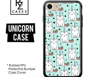 Unicorn Phone Case, Cat Phone Case, Unicorn iphone Case, iPhone 7, Animal, Gift for Her, iPhone 7 Plus, iPhone 6S, Rubber, Bumper