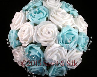Wedding Bouquets, Brides, Bridesmaids, Light Blue and Ivory or Light Blue and White