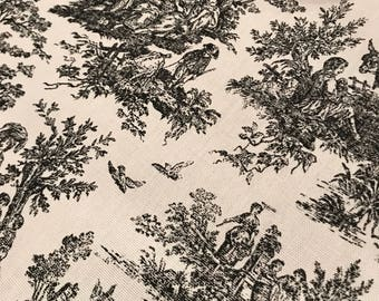 Toile Black Bed Runner Scarf | Toile Bed Scarf | Coverlet | Decorative | French Toile | King Queen Full | Thanksgiving Wide Table Runner