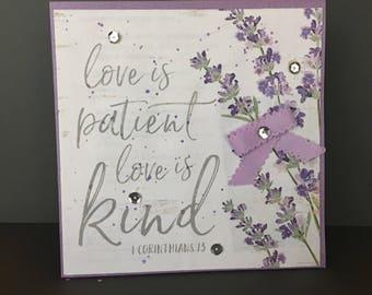 ANNIVERSARY Love is Patient, Love is Kind Purple Flower Card