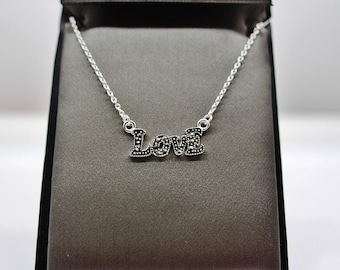 Sterling Silver Marcasite Love Necklace
