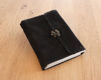 Ragged Black Suede - Leather Diary - Sketchbook - Journal *Handmade*