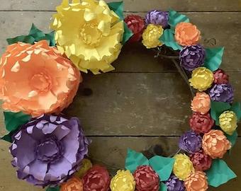 Summer floral wreath