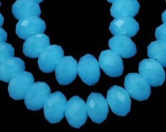 72 opaque faceted 6x4mm blue opaline glass oval beads
