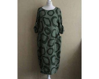 Lagenlook Linen Tunic Pocket Dress 14-18 Khaki