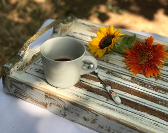 Wooden Serving Tray with Rope Handles | Wedding Tray | Baptism Deco | Breakfast Tray | Rustic Tray | Country style Tray | Cafe | Coffee Tea