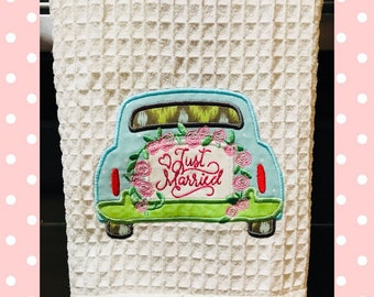 Adorable Just Married Kitchen Towel