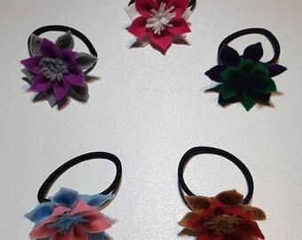 Felt Flower Hair Ties