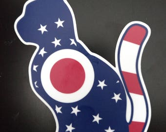 Cat Ohio State Flag Vinyl Decal
