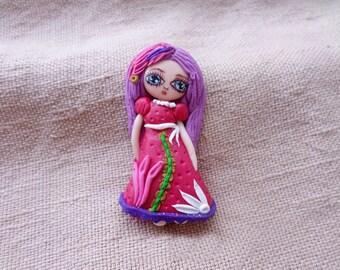 Cute Portrait Pin, Portrait Figurine Brooch, Custom Figurine, Person Portrait, Custom Figurine, chibi commission,  girl portrait, Girl Pin