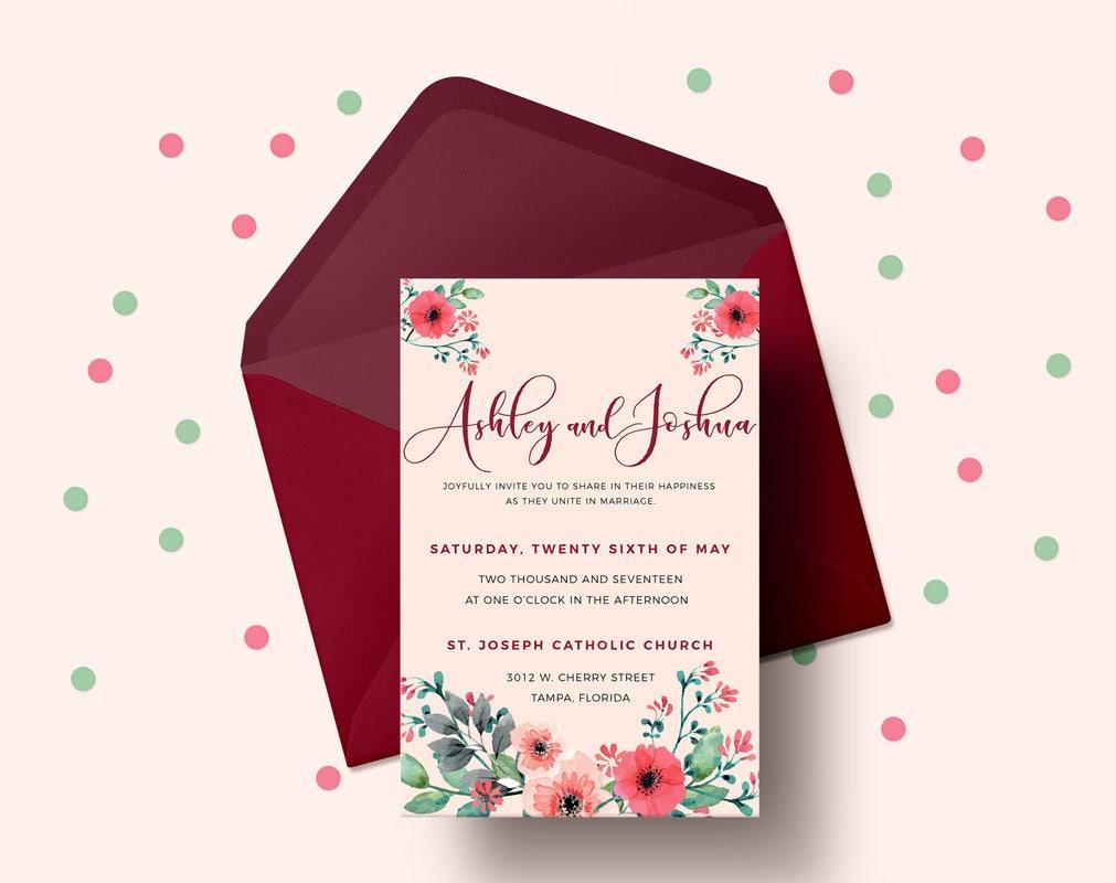 Printable Wedding Invitation, Wedding invitation, Digital invitation ...