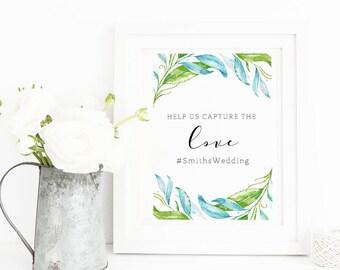 Wedding Hashtag Printable, Help us capture the love, Wedding Printable, Instagram Wedding Sign, Wedding Decor, Hashtag Sign, Forest