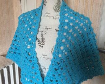 turquoise crochet shawl
