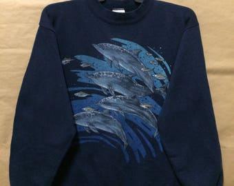 Vintage 90s Dolphin Marine Life Sweatshirt X-Large Size