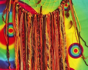 XL Orange/Yellow/Brown Dreamcatcher With Feathers