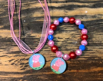 Peppa Pig party favors.Peppa Pig bracelet.Peppa pig necklace.Peppa Pig jewelry