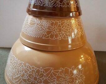 Vintage Pyrex 403 Woodland Mixing Bowls, Vintage, mixing bowls, cook, bowls