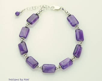 Zambian Amethyst Bracelet with Sterling Silver additions