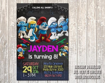 Smurf Invitation, Smurf Birthday, Smurf Party, Smurf card, Smurf printable, Smurf, Smurf Girl, Girl Invitation, Smurf Girl Invitation_BS066