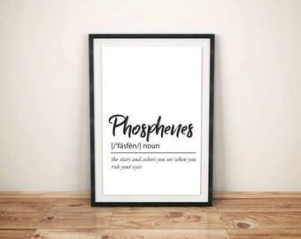 Phosphenes Definition - Printable Wall Art, Instant Download Poster