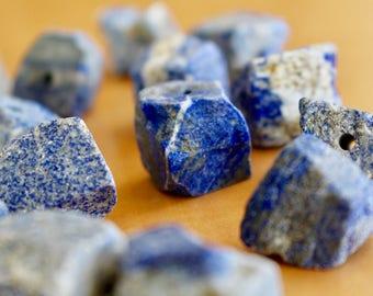 Raw Lapis Lazuli pendant, rugged Lapis Lazuli pendant, raw cut, drilled pendant, lapis lazuli rock pendant, P0020