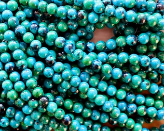 8mm Chrysocolla beads, full strand, natural stone beads, round, 80021