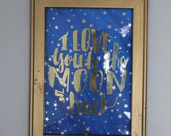 I love you to the Moon - Reverse Canvas