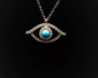 18K Rose Gold chain Necklace with Turquoise eye
