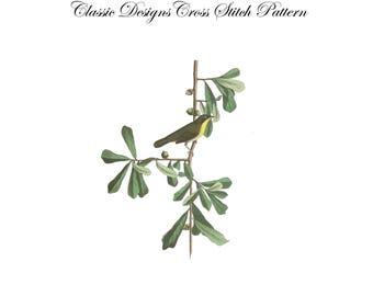 Audubon's Plate 24 Roscoe's Yellow Throat Cross Stitch Pattern
