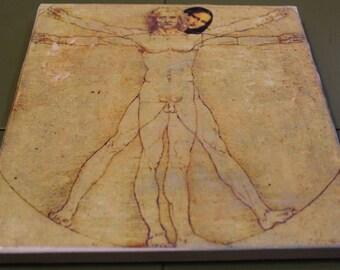 Monnalisa e uomo Vitruvian-handmade print on canvas