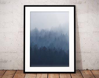 Misty Forest Digital Print II, Fog, Trees, Mist, Mountain Poster, Moody, Alps, Printable Nature Photography, Minimalism, Modern Home Decor