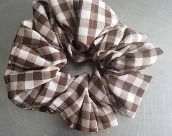 Handmade, Brown & White Checked Scrunchie