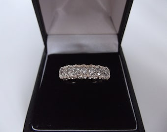 9ct Gold 0.50 Half Carat Diamond Half Eternity Ring Size M 1/2