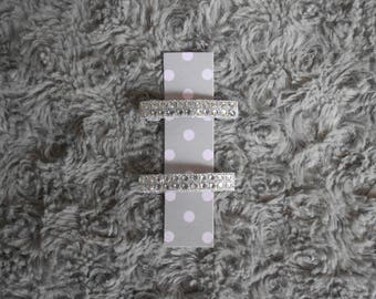Hair clips with white rhinestones