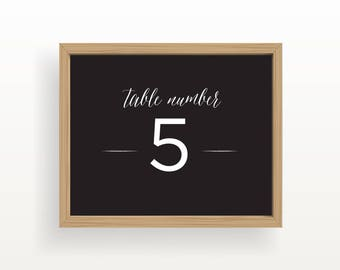 8x10_White on Black Wedding Sign_Table Numbers