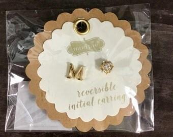 M Initial Earrings Reversible