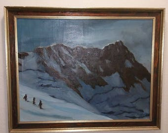 Original Mid Century Mountain Landscape Oil Painting of Three Climbers on Canvas Artist Signed - 30x24 Inches