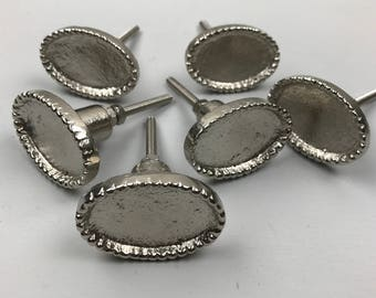 Set 6 x Metal SILVER OVAL KNOBS  with a raised beaded edge - Knob Home decor drawer pull
