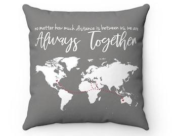 Long Distance Map Pillow | Long Distance Relationship | Custom Map Pillow | World Map Pillow | Anniversary Gift