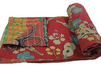 Twin Handmade Reversible Vintage Sari Kantha Quilt Twin Old Cotton Kantha Bedspread Kantha Gudri Cotton Blanket 30