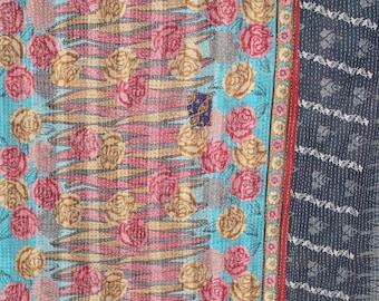 Floral Handmade Vintage Reversible Kantha Quilt, Twin Old Cotton Kantha Bedspread Kantha Gudri Cotton Blanket 144
