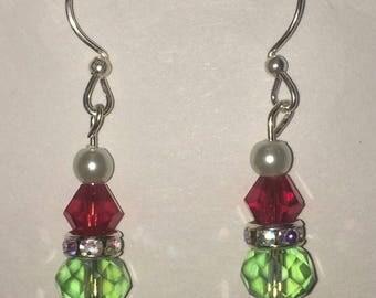 Grinch Christmas, Grinch inspired, grinch earrings, dangle earrings, crystal grinchmas, handmade, crystal earrings, holiday earrings