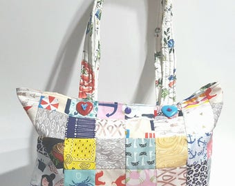 Tote, patchwork market bag, patchwork tote, market bag, quilted tote, market tote, shopping bag, shopper tote, large tote, scrappy tote