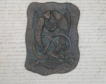 Fisherman gift, Interlaced fish, Celtic knot wall art, unique gift, Gothic home decor, Renaissance era art, Ceramic, Wall plaque, Rustic,