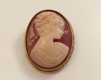 1960's Sphinx faux cameo brooch