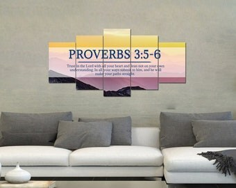 Proverbs 3:5-6 #55 NIV Trust in the Lord Bible Verse Canvas | Christian Canvas | Scripture | Religious | Wall Art | Home Decor Paintings