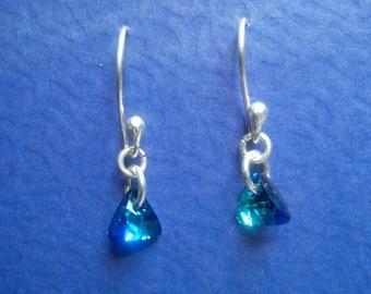 Hoop Earrings in Sterling Silver with Swarovski triangle pendant 8 mm Bermuda Blue