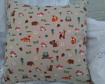 Handmade cushion cover woodland creatures animals wildlife 16 inch